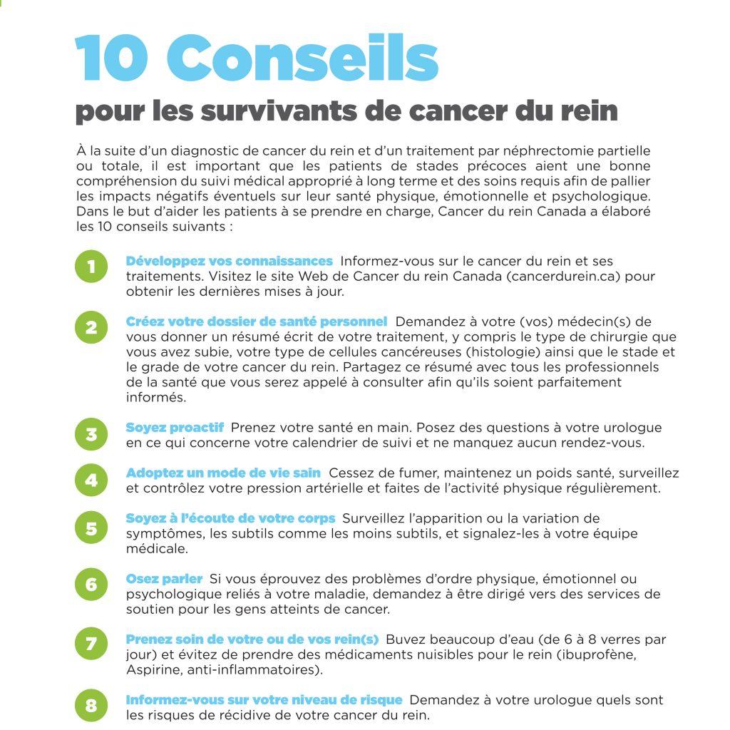 10 conseils pour les survivants de cancer du rein