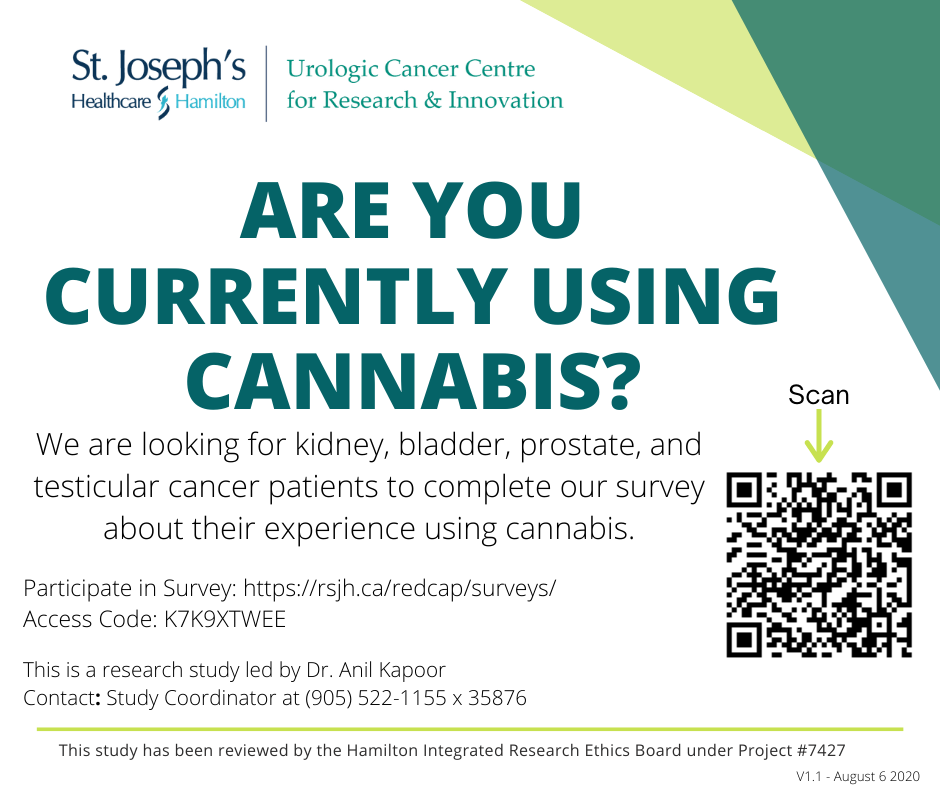 St. Joe's Urologic Cancer Centre for Research & Innovation cannabis survey study